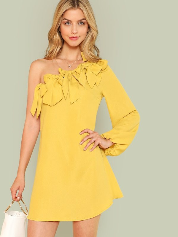 15f006157738 Knot Yellow One Shoulder Dress - Womens WebStore